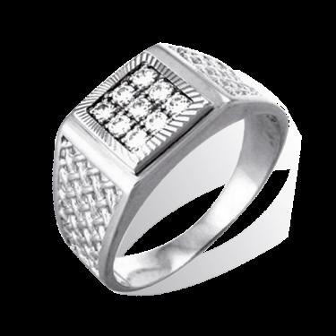 Серебряное кольцо печатка с фианитами арт. пч 035.